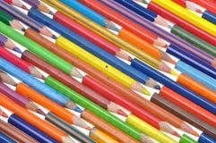 Alte schmutzige farbige Bleistifte Stockfotografie