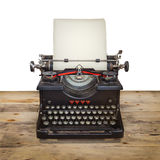 Alte Schreibmaschine auf einem hölzernen Fußboden der Weinlese Stockfoto