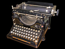 Alte Schreibmaschine getrennt im Schwarzen Lizenzfreie Stockfotos