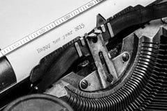 Alte Schreibmaschine - guten Rutsch ins Neue Jahr 2015 Lizenzfreie Stockbilder