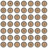 Alte Schreibmaschinensymbole (Alphabet) stockfoto