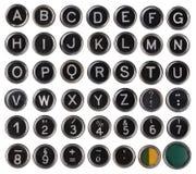Alte Schreibmaschinentasten, -alphabet und -zahlen Stockfotos