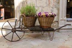 Alte Schubkarre mit Körben von Blumen Stockfotos