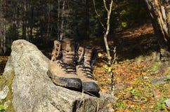 Alte Schuhe auf einem Felsen mit Moos Lizenzfreie Stockfotografie