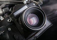 Alte schwarze Kameranahaufnahme Lizenzfreies Stockfoto