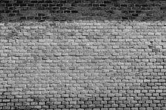 Alte Schwarzweiss-Backsteinmauer mit Schatten Stockbilder