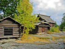 Alte schwedische ökologische Kabine Stockfotografie