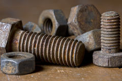Alte screwbolts Stockfotos