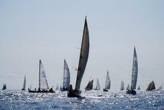 Alte Segelnboote in den Imperia Stockfoto