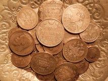 Alte Silbermünzen Stockbild