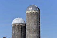 2 alte Silos in Süd-Wisconsin Stockbild