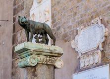 Alte Skulptur des Wolfs in Rom, Lazio, Italien Lizenzfreie Stockbilder