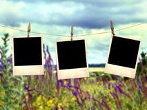 Alte sofortige Fotos auf dem Hintergrund von wilden Blumen Lizenzfreie Stockfotografie