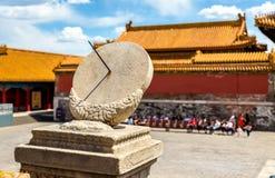 Alte Sonnenuhr in der Verbotenen Stadt - Peking lizenzfreie stockfotos