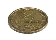 Alte Sowjet zwei Copecks prägen lokalisiert auf weißem Hintergrund Stockfotos