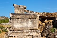 alte Spalte und Tempel in Asien-Truthahn Stockfotos