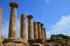 Alte Spalten Hercules Temples, Italien, Sizilien, Agrigent stockbild