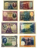 Alte spanische Banknoten Stockbilder