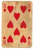 Alte Spielkarte acht von den Herzen lokalisiert auf Weiß Stockfotografie