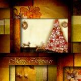 Alte Spielwaren und Tanne der Weihnachtskarte Lizenzfreie Stockfotos