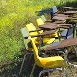 Alte Stühle auf dem Gebiet. Stockfotos
