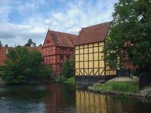 Alte Stadt Aarhus in Dänemark Lizenzfreies Stockfoto