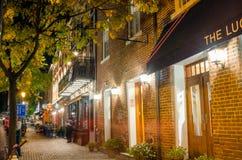 Alte Stadt Alexandria, VA, nachts Stockfotografie