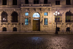 Alte Stadt, alte Straße und Eingang zum Geburtsort von Katharina die Große, Szczecin, Polen Lizenzfreie Stockfotografie