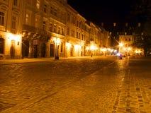 Alte Stadt bis zum Nacht Stockbild