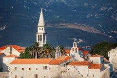 Alte Stadt in Budva an einem schönen Sommertag Budva-Zitadelle ADRIATISCHES MEER Lizenzfreies Stockbild