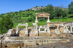 Alte Stadt Celsus-Bibliothek in Ephesus, die Türkei Lizenzfreie Stockfotografie