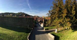 Alte Stadt des Brasov Panoramas Stockfotos