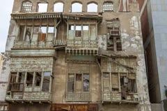 Alte Stadt in Dschidda Saudi-Arabien bekannt als historisches Dschidda Alt und Erbe Windows und Türen in Dschidda Schattierte Ent lizenzfreies stockfoto