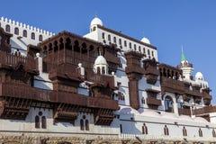 Alte Stadt in Dschidda, Saudi-Arabien bekannt als historisches Dschidda Alt und Erbe Windows und Türen in Dschidda Schattierte En stockfotografie