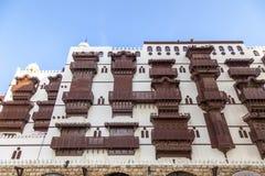 Alte Stadt in Dschidda, Saudi-Arabien bekannt als historisches Dschidda Alt und Erbe Windows und Türen in Dschidda Schattierte En lizenzfreie stockfotografie