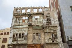 Alte Stadt in Dschidda, Saudi-Arabien bekannt als historisches Dschidda Altes Gebäude im UNESCO-Welterbhistorischen Dorf Al Balad lizenzfreies stockfoto