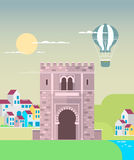 Alte Stadt in Granada, Andalusien, Spanien, Europa Flache Illustration lizenzfreie abbildung