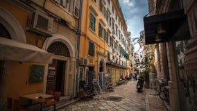 Alte Stadt Griechenland-Straße Korfus lizenzfreies stockfoto