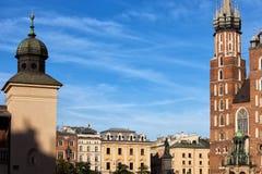 Alte Stadt historischer Architektur Krakaus stockfotos