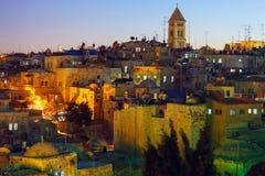 Alte Stadt Jerusalems nachts, Israel Stockfotografie