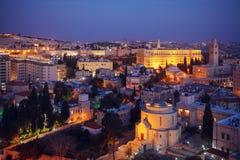 Alte Stadt Jerusalems nachts, Israel Lizenzfreies Stockfoto