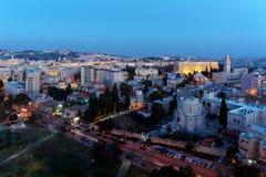Alte Stadt Jerusalems nachts, Israel Lizenzfreie Stockfotos