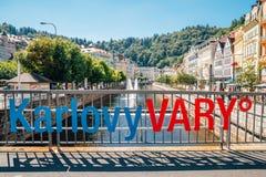 Alte Stadt Karlovy Varys Dorf der heißen Quelle in Karlovy Vary, Tscheche stockfoto
