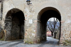 Alte Stadt Landschaft in der mittelalterlichen Stadt Sighisoara Stockbilder
