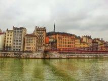 Alte Stadt Lyons und die Heiligvincent-Brücke, Lyon, Frankreich Stockfotografie