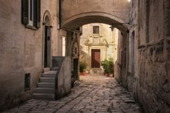Alte Stadt Matera Basilikata Apulien oder Puglia Italien stockbild