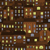Alte Stadt am Nachtretro- nahtlosen Muster Stockfotografie