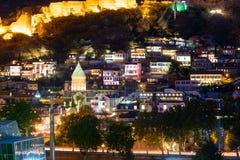 Alte Stadt nachts Tbilisi, Georgia Stockbild