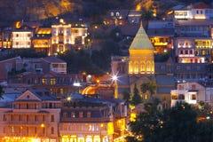 Alte Stadt nachts, Tiflis, Georgia Stockbild