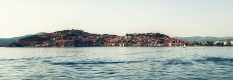 Alte Stadt Ohrid mit Ohrid See, Mazedonien - Panorama Stockfotografie